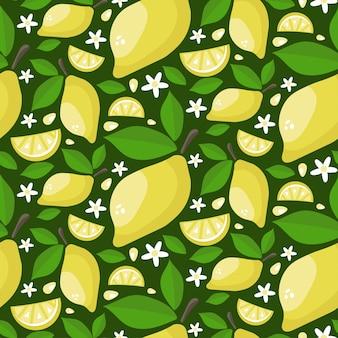 葉と花を持つ熟したジューシーレモンのシームレスパターン。漫画は背景を描画します。
