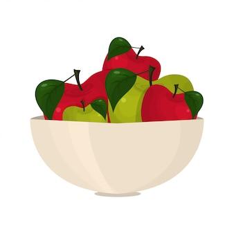 ボウルに抽象的な明るいりんごのイラスト。