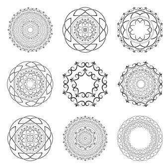 Установите мандалы. круглый орнамент