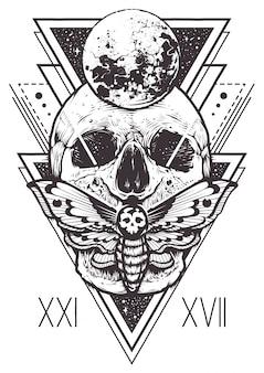 頭蓋骨の神聖なジオメトリデザイン