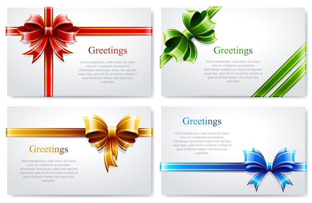 Пачка поздравительной открытки с цветными бантами