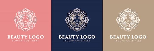 ビューティーハンドガールフィットネスヘアビューティーヘルスコスメティックナチュラルスパサロンスキンヘアカンパニーに適した顔と髪のある花のフェミニンなロゴ