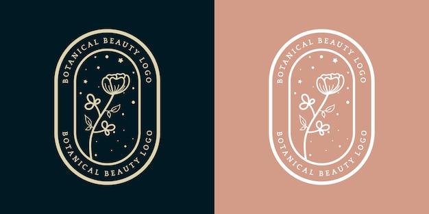 ホテルレストランカフェコーヒーショップスパビューティーサロン高級ブティックコスメティックアンドデコレーションビジネスに適した手描きフェミニンラグジュアリーロイヤルフローラルロゴテンプレートバッジ