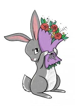 Кролик с букетом цветов