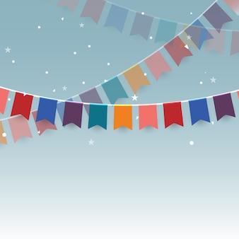 カラフルなガーランドの祭りのフラグと紙吹雪
