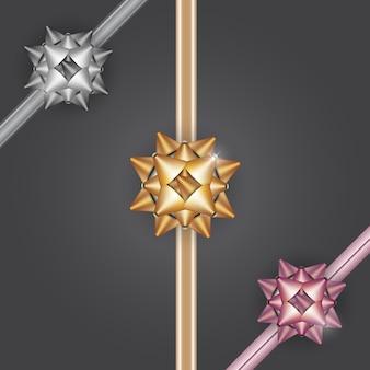 Золотой серебряный бронзовый подарочный бант с лентами