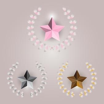 明るい背景に星と月桂樹の花輪