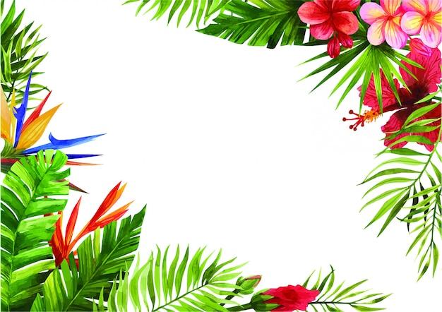 熱帯の花と葉のフレーム