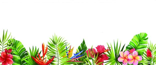 Акварельная рамка с тропическими цветами и листьями