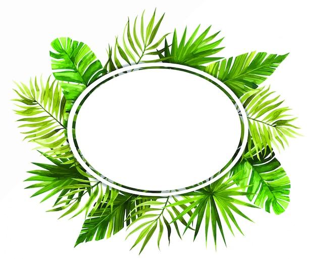 Акварельная рамка с тропическими листьями