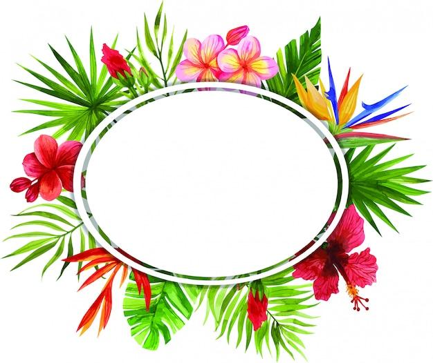 Рамки из тропических цветов и листьев