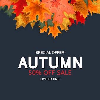 秋の落ち葉と抽象的な秋販売の背景