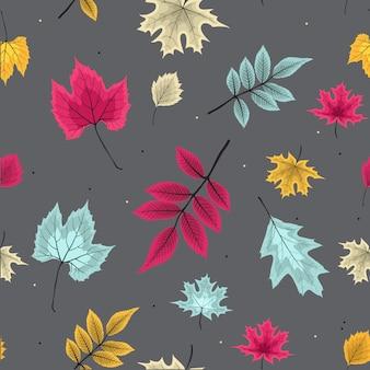 秋の落ち葉と抽象的なベクトルイラストシームレスパターン背景