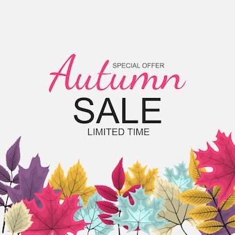 秋の落ち葉と抽象的なイラスト秋販売の背景。