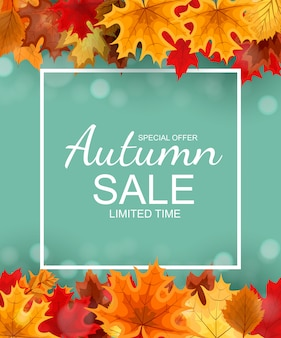 秋の落ち葉と秋の販売バナー
