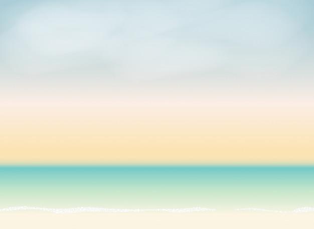 夏の時間の背景。太陽が降り注ぐビーチのベクトル図