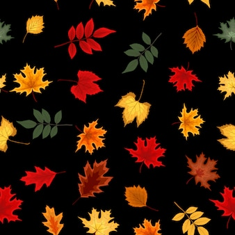 秋の落ち葉と抽象的なベクトルイラストシームレスパターン。