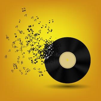 抽象的な音楽ノートとビニールディスク