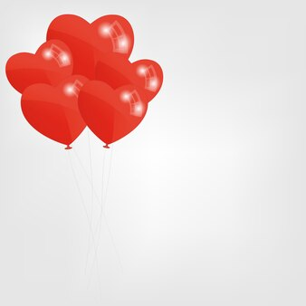 赤いハート風船