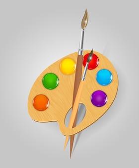 Деревянная художественная палитра с красками и кистью