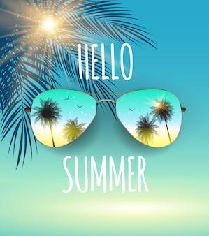 こんにちはガラスと手のひらで夏の背景。