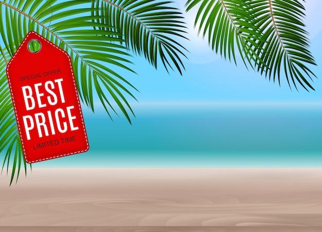 最高の値札とビーチの背景