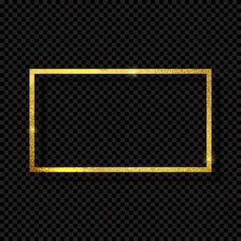 透明な背景に抽象的な光沢のあるゴールデンフレーム高級。