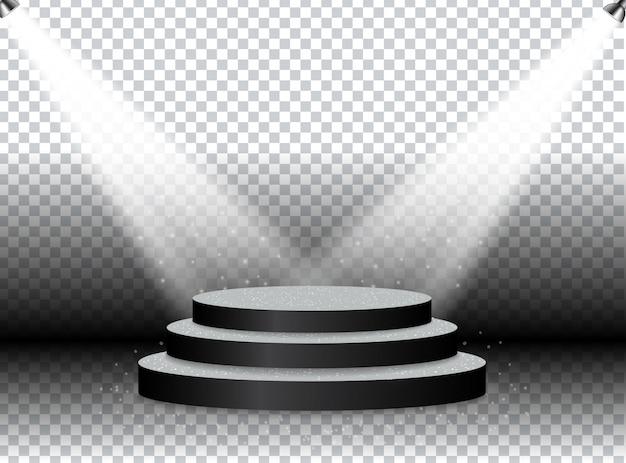 明るいスポットライトで照らされた賞および公演のためのカラフルな照らされた表彰台。