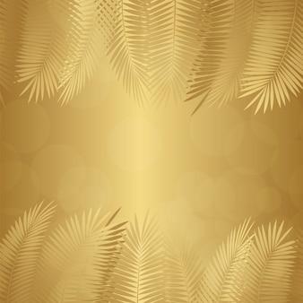 金ヤシの葉の背景。