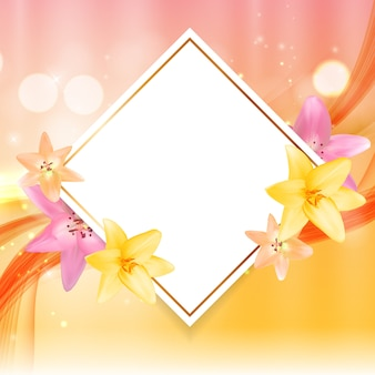 ユリの花と抽象的なフレーム。自然な背景