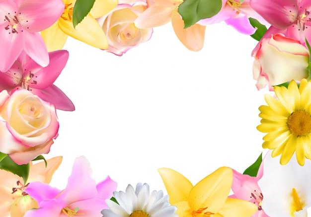 ユリ、バラと他の花の抽象的なフレーム。自然な背景