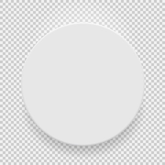 透明な背景に分離された影付きの白い空白モデルテンプレートトップビュー。