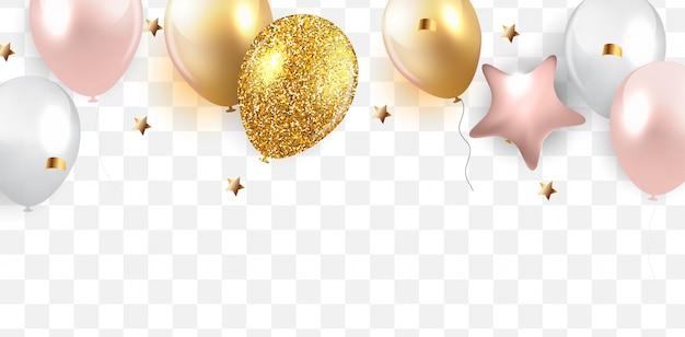 Глянцевый фон с днем рождения шары