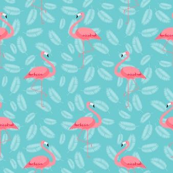 カラフルなピンクのフラミンゴのシームレスなパターン背景。
