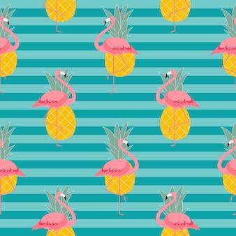 Красочный розовый фламинго и ананас бесшовные узор фона.