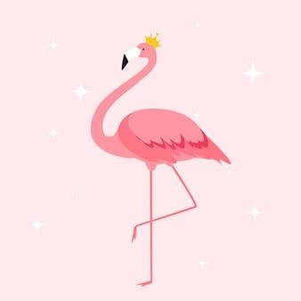Силуэт красивых цветных фламинго в короне