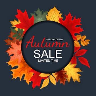 秋の落ち葉と抽象的な秋販売の背景。