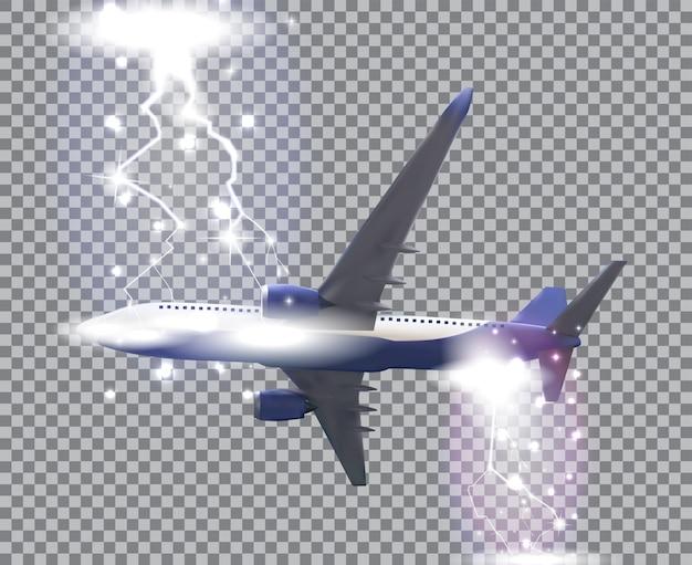 自然主義的な旅客機は透明な背景に飛ぶ。下からの側面図