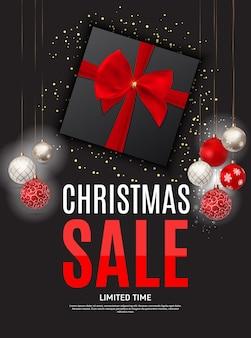 Рождество и новогодняя распродажа фон, шаблон купона на скидку