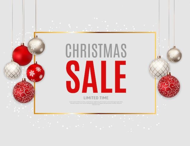 クリスマスと新年の販売の背景、割引クーポンテンプレート