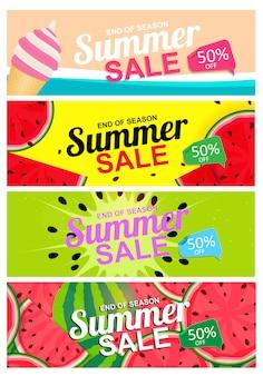 抽象的な夏セール背景カードポスターコレクションセット
