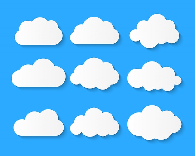 思考風船が青い背景に設定白い雲雲記号またはロゴ。