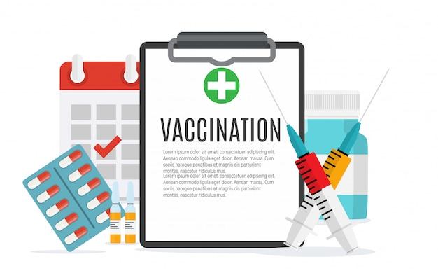 予防接種コンセプトフラットバックグラウンド。医療意識インフルエンザ、ポリオインフルエンザポスター