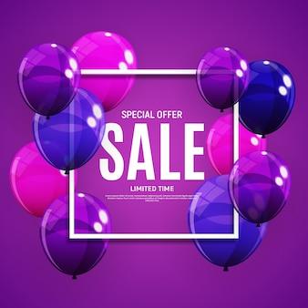 Абстрактный баннер продажа с фиолетовыми шарами