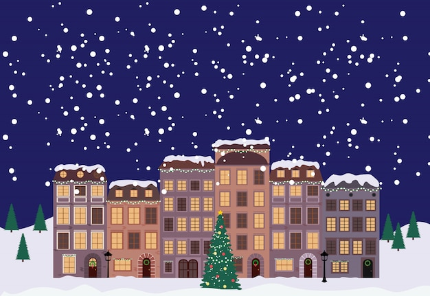 冬のクリスマスと新年のレトロなスタイルの小さな町