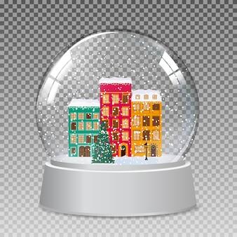 クリスマスと新年の贈り物のための冬の小さな町で雪のガラスグローブ。ベクトル
