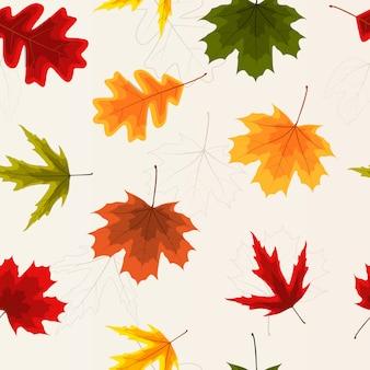 Осенние листья бесшовные модели