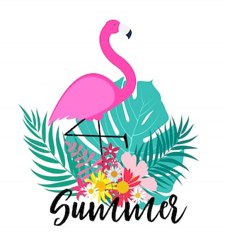 Милый розовый фламинго летний фон
