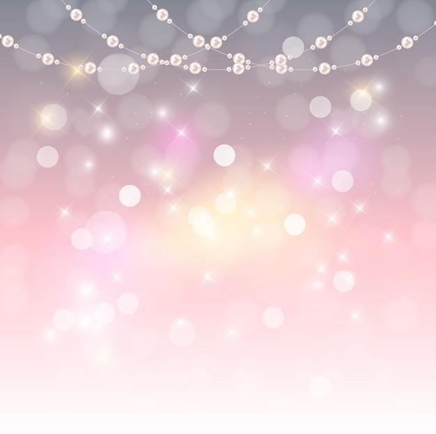 ビーズの天然真珠の花輪と抽象的な背景。ベクトル図
