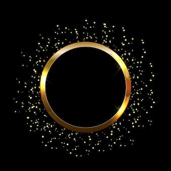 黄金の輝く光沢のあるフレームの抽象的な背景。